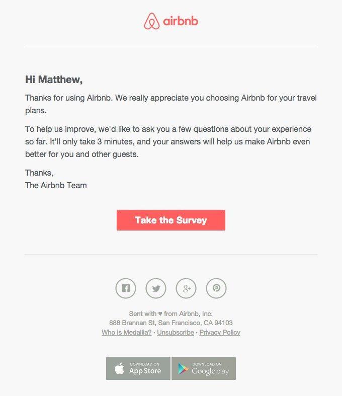 mãu email của Airbnb