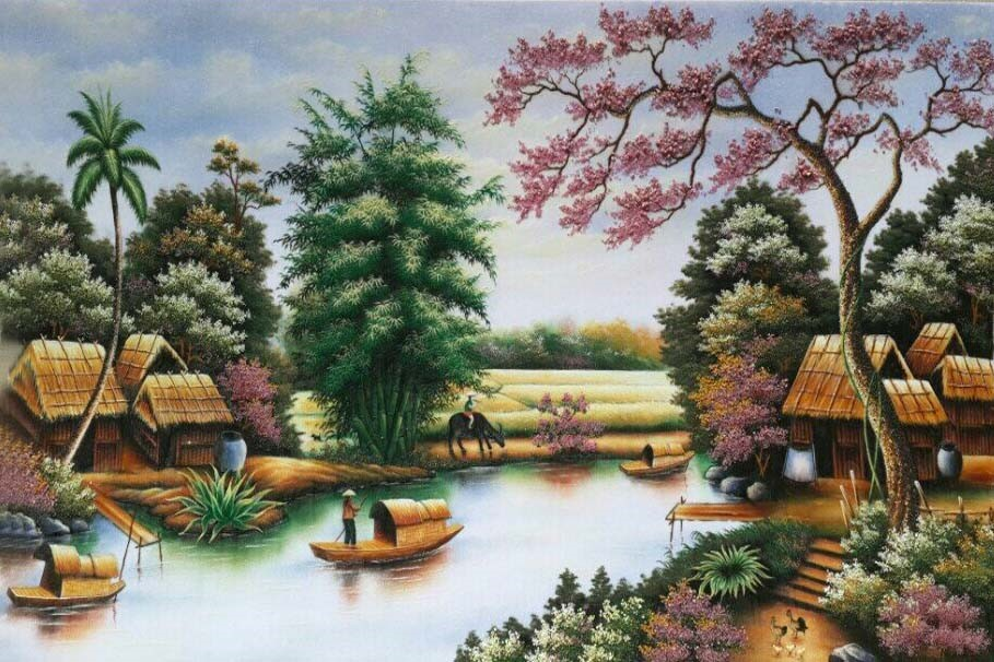 Tranh đá quý sông quê
