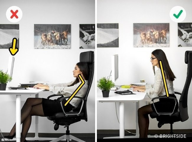 ngồi máy tính đúng cách